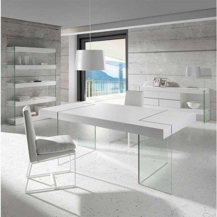 Atylia.com - #Table à Manger #Design Lord - Couleur Blanc en verre trempé - Fabriqué en EUROPE !