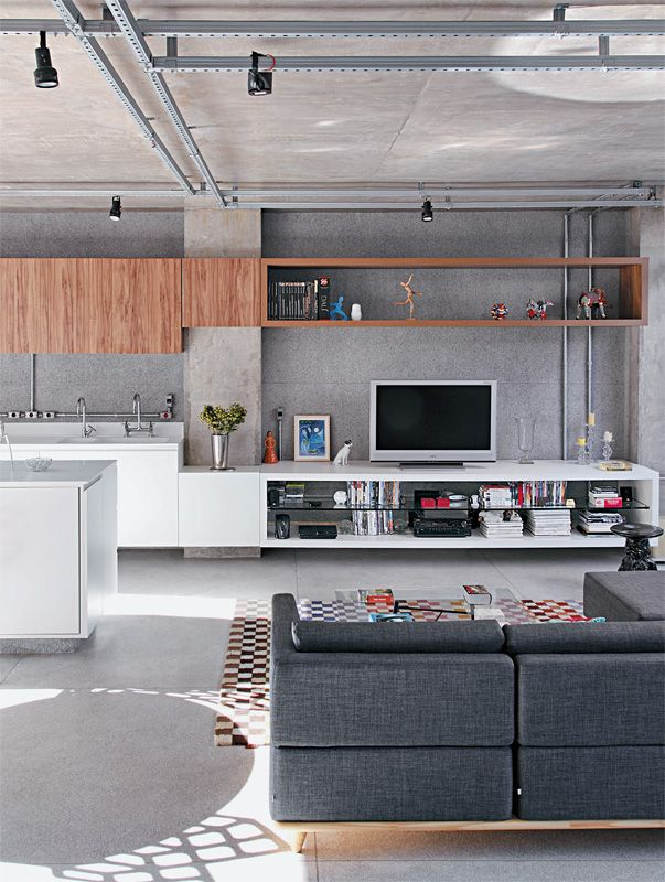 kitchens-living-rooms-loft-spaces-gray-bookcases-can-openers-ceiling-lights-entertaining