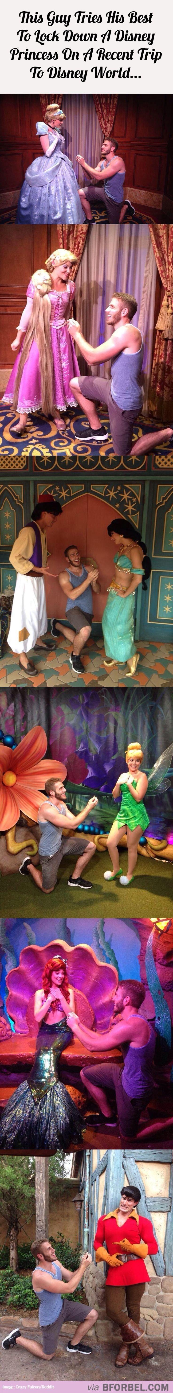 Guy Tries His Best To Lock Down A Disney Princess On A Recent Trip To Disney World…