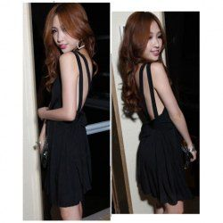 $10.89 Sexy Deep V-Neckline Backless High Elastic Cotton Mini Pleated Dress For Women