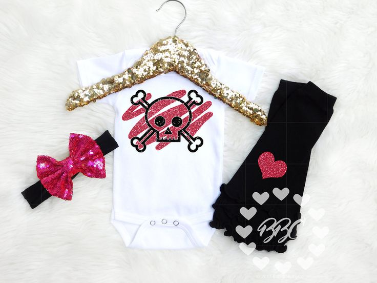 Girls Skull and Crossbones, Baby Hipster Outfit, Glitter Skull, Baby Girl Clothing, Unique Baby Clothing, Pink and Black Set, Bodysuits by BannahBabyCo on Etsy