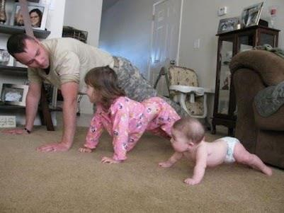 Family that prays together & does pushups together....Stays together