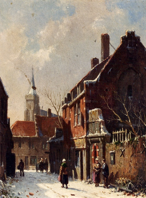 Figures in the Streets of a Dutch Town in Winter by Adrianus Eversen (1818 - 1897)