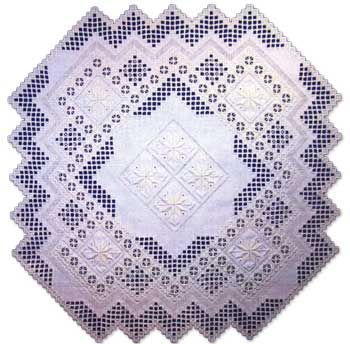 "This lovely #Hardanger design features satin stitch flowers. Stitches include faggotting and eyelets.  Finished size is 25"" x 25"" on 22-count.   #embroidery #needlework #stitching #tablecenter"