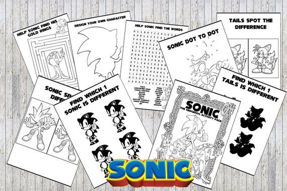 Sonic The Hedgehog Printable Puzzle Quiz Colouring Book Etsy Coloring Books Printable Puzzles Sonic