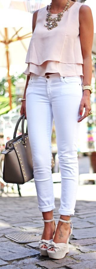 Coral top white jeans. Summer street women fashion outfit clothing style apparel @roressclothes closet ideas