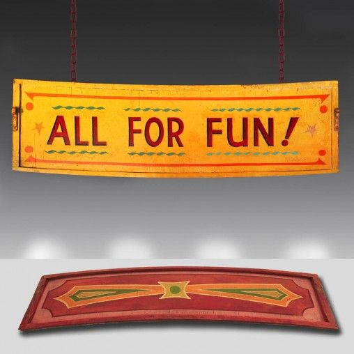 'All for Fun!' 1930's Vintage fairground sign