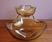 Vintage Anchor Hocking Amber Glass 'Honey Gold' Chip and Dip Set with Hanger