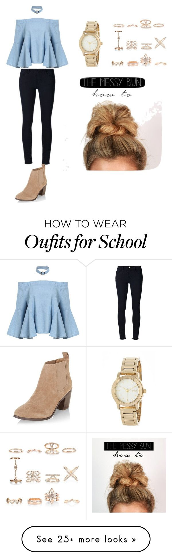 """""""School outfit idea"""" by kayaroseberry-1 on Polyvore featuring Frame Denim, New Look and DKNY"""