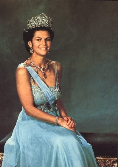 Queen Silvia of Sweden, in Diamond Braganca on this page