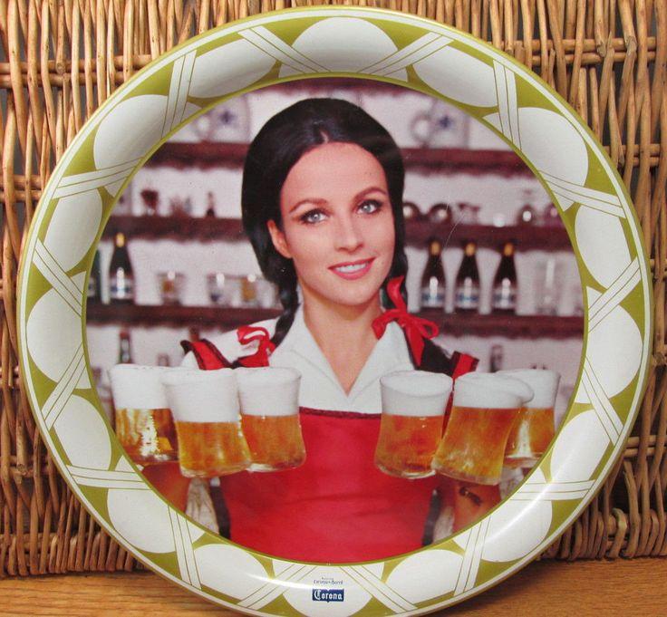 Vintage Corona Cerveza de Barril beer tray real photo pretty girl 1960s