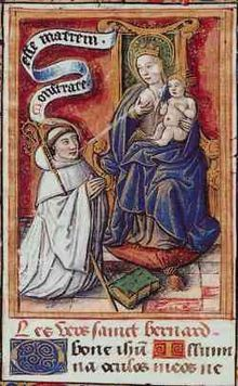 Bernard receiving milk from the breast of the Virgin Mary. The scene is a legend which allegedly took place at Speyer Cathedral in 1146.