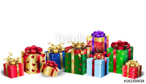 "Download the royalty-free photo ""Beautiful Gifts boxes for Christmas and New Year Winter Holiday, isolated on white, Birthday colorful presents, bow, red ribbon, banner."" created by sofiartmedia at the lowest price on Fotolia.com. Browse our cheap image bank online to find the perfect stock photo for your marketing projects!"