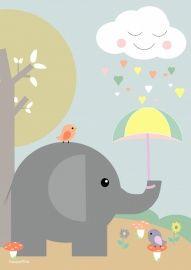 Poster: Olifantje met paraplu