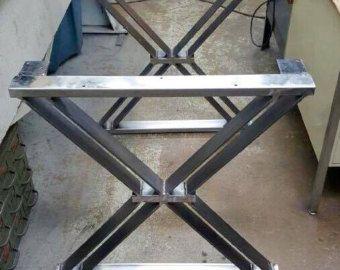 Tabla de cena piernas piernas de Industrial por MetalAndWoodDesign