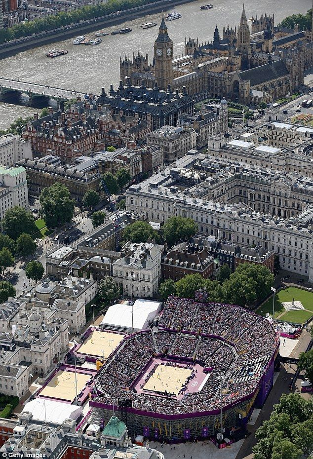 Remarkable aerial scene of London and Horse Guards Parade. Surviving part of Whitehall Palace, built by Henry VIII called then The Tilt Yard where his knights would practice tilting (jousting); this is the set-up for the Olympics beach volleyball