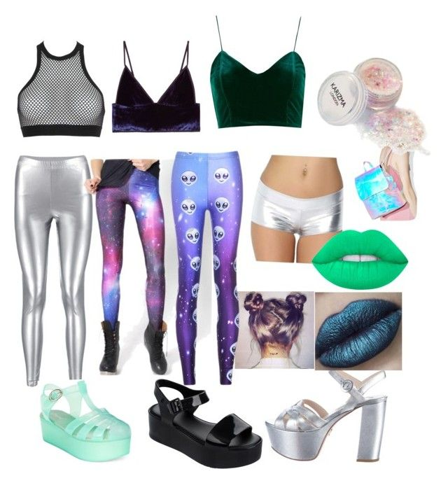 """DIY Alien Halloween costume"" by caitirish on Polyvore featuring WithChic, Prada, Dsquared2, T By Alexander Wang, Topshop, Melissa, Wanted, Chicnova Fashion, Lime Crime and Skinnydip"