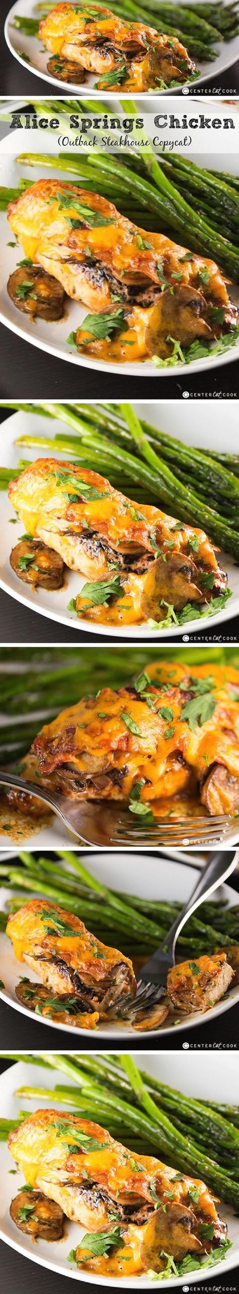 Learn how to make a mouth-watering copycat version of Outback STEAKHOUSE'S ALICE SPRINGS CHICKEN with mushrooms, crispy bacon, and melty Monterey Jack Cheese glazed with honey mustard sauce.