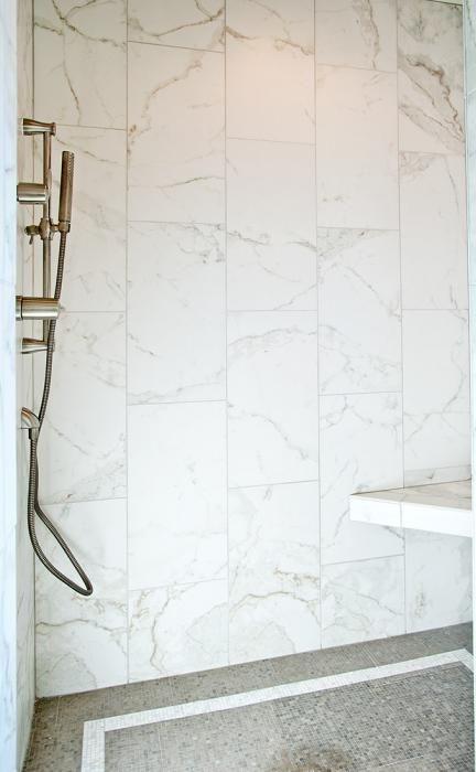 Vida Dolce Calacatta Porcelain Tile 12x24 on walls with mini-mesh on floor
