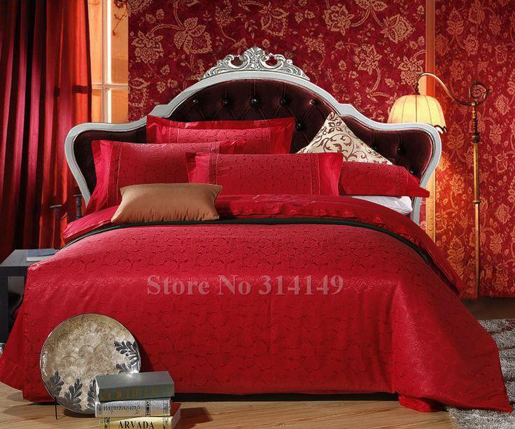 Atacado, roupa de cama rosa romântico floral flor vermelha duvet colcha cobre 4 pcs queen/completa/rei jacquard de cetim de casamento ...