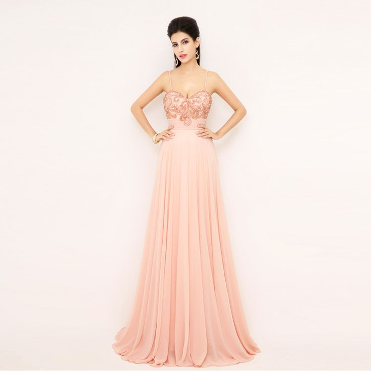 High quality Pink Chiffon Long Prom Dresses 2015 Fast shipping wholesale Spaghetti Strap Evening Gowns Party Dress Crystal AJ018