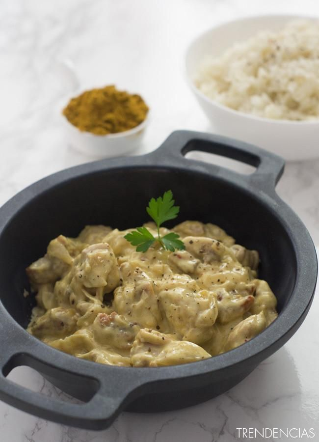 Receta de pollo al curry. Con fotos del paso a paso, los ingredientes y la presentación. Trucos y consejos de elaboración. Recetas de salsas...