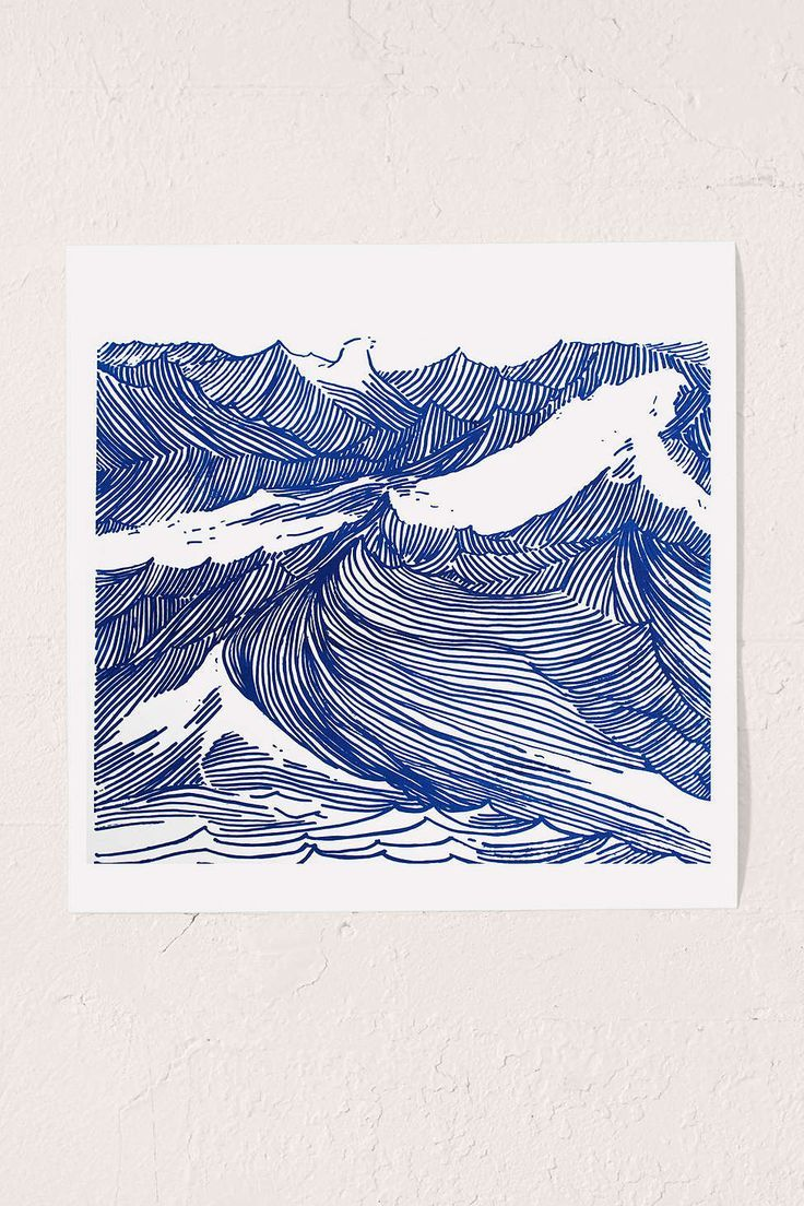 Kym Fulmer Crashing Waves Art Print, blue white | Urban Outfitters