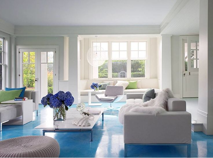 Living Room, White Living Room Design With Blue Accent In Floor Make  Romantic Impressions: