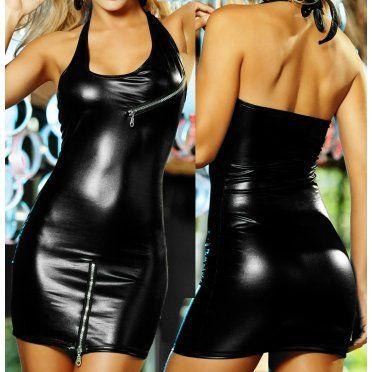 Robe Vinyle Sexy à Fermeture Eclair - 36.90€