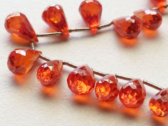 AAA Cubic Zirconia Carnelian Orange Crystal by gemsforjewels