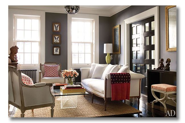 Brooke Shields home from Architectural Digest- Chelsea Gray on wallsWall Colors, Chelsea Gray, Grey Wall, Living Room, Brooke Shields, Benjamin Moore, Brooks Shields, Architecture Digest, Gray Wall