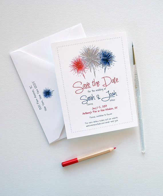 Fourth of July Wedding Save the Dates  July 4th by MospensStudio