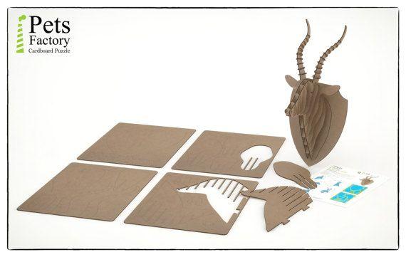 CABEZA DE ANTILOPE Trofeo de caza cabeza trofeo Puzzle 3D de
