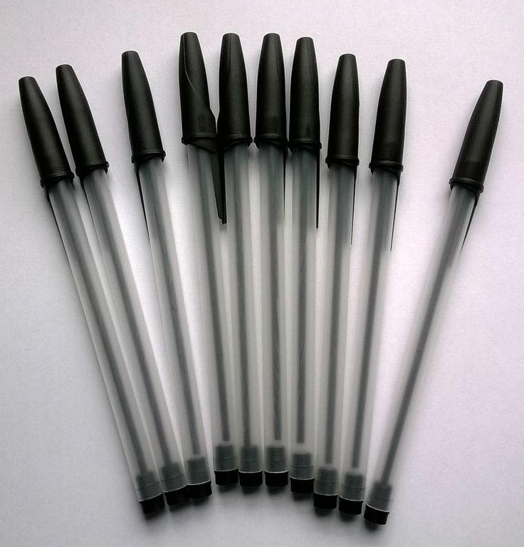 10 New Ballpoint Pens BLACK selling for 1p on eBay