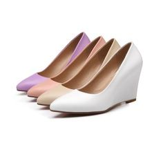 2015 nuovo arrivo big size 33-43 beige rosa bianco viola moda punta a punta tacco alto zeppe scarpe primavera donna pompe d882(China (Mainland))