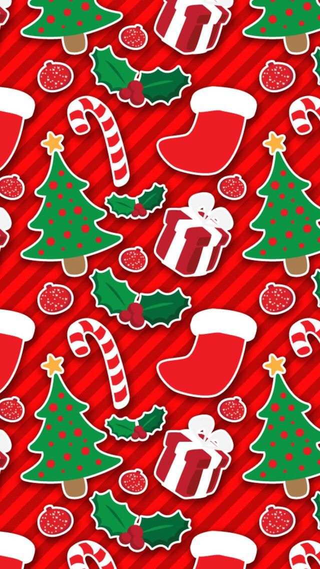 Christmas images on red