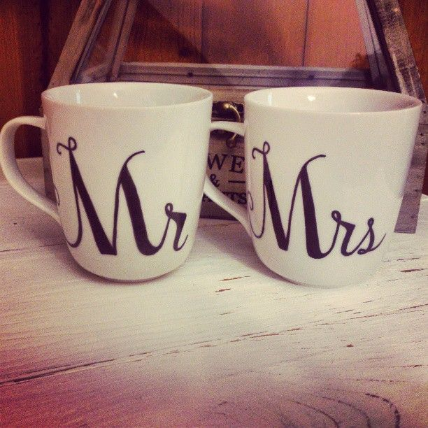 Mr and Mrs mugs. Needed for our morning coffee time :)