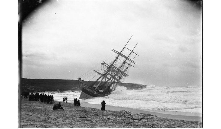 Sydney beaches in history - The wreck of the Hereward caught in the breakers at Maroubra Beach in 1898 drew curious crowds. Parts of this magnificent ship lay concealed for many decades, a well-known hazard among local surfers.