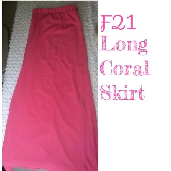 SALE! Forever 21 Long Coral Skirt.  I Bought This And Never Wore It. gorgeous Coral Color. ❤❤ FEEL FREE TO MAKE AN OFFER. ❤❤ Forever 21 Skirts Maxi