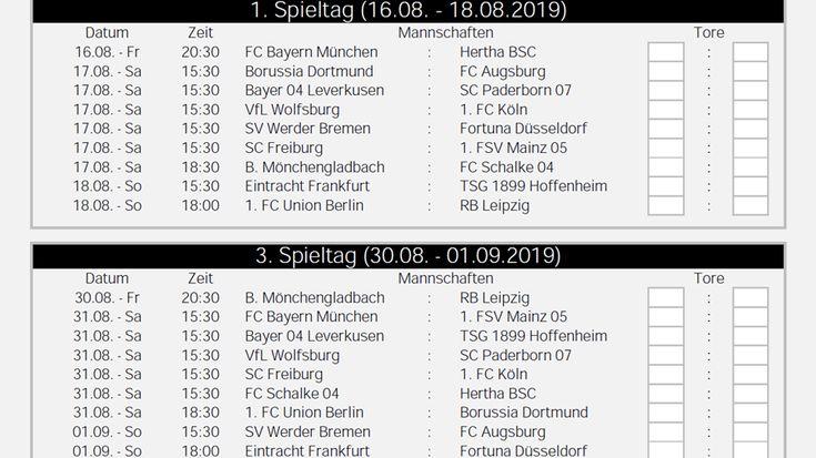 Spielplan Bundesliga Tabelle