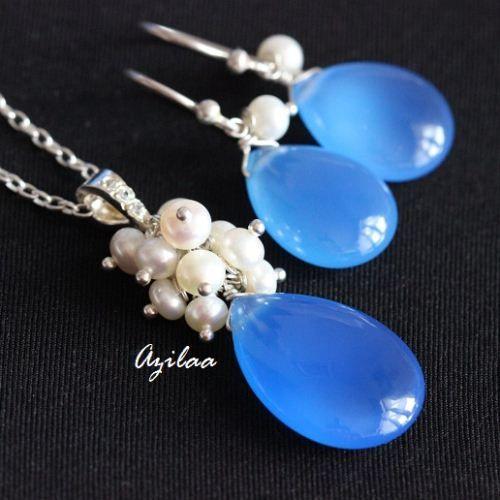 Blue Chalcedony Pearl pendant earrings Gemstone Silver Beaded SET ₹3950.00