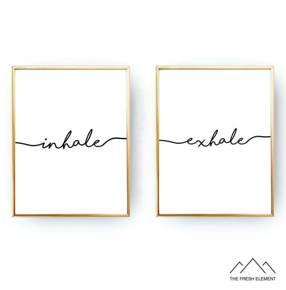 Inhale Exhale Yoga Studio Inspired Wall Art Print is a High Quality INSTANT DIGITAL DOWNLOAD which can be printed in many standard frame sizes Limited Time Introductory Price! REG $11 - 83%OFF - Ends March 31st Also Available in Gold Here: www.etsy.com/ca/listing/504795696/gold-foil-inhale-exhale-yoga-wall-art ✚What You Will Get: ✔2 Files - 4x5 ratio file for printing - 4x5, 8x10, 16x20 ✔2 Files for printing 11x14 Each File is a High Resolution (300 dpi) JPEG Digit...