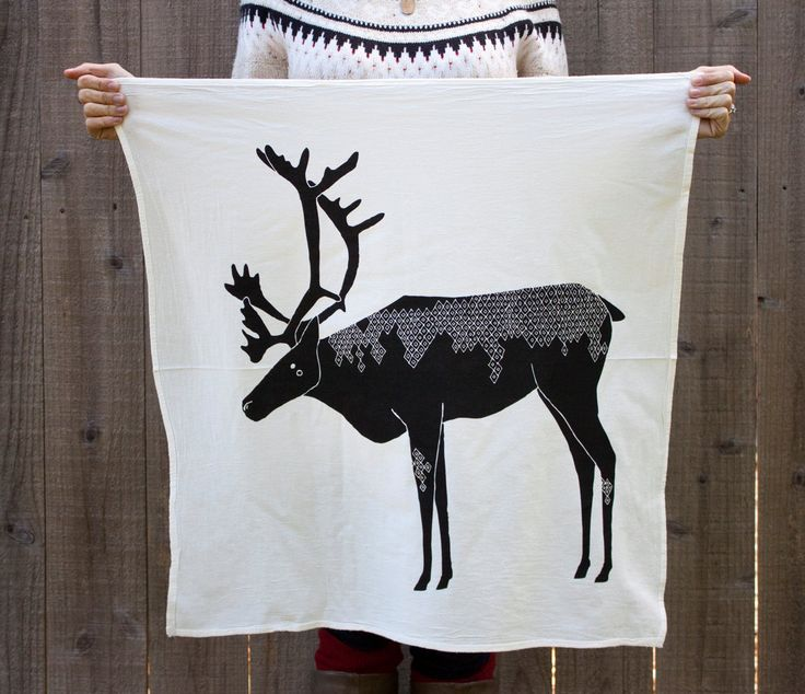 I really need this...Natural Tea Towel - Caribou Tea Towel, Holiday Tea Towel. $16.00, via Etsy.