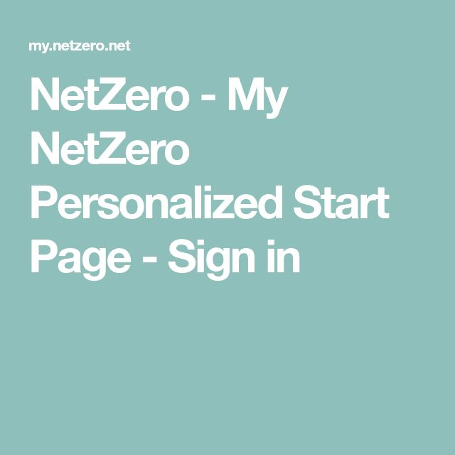 netzero personalized sign in page