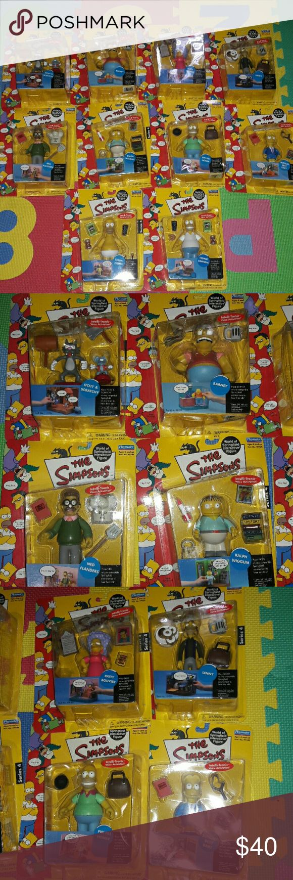 The Simpsons Playmates Intelli- Tronic Bundle New and sealed box. Bundle of 10 figurines. The simpsons playmates Intelli- Tronic Voice activation.  Itchy and scratchy Barney  Patty Bouvier Lenny Ned Flanders Ralph Wiggum Homer Simpson  Pin pal Homer Sunday best Bart Casual Homer Playmates Other