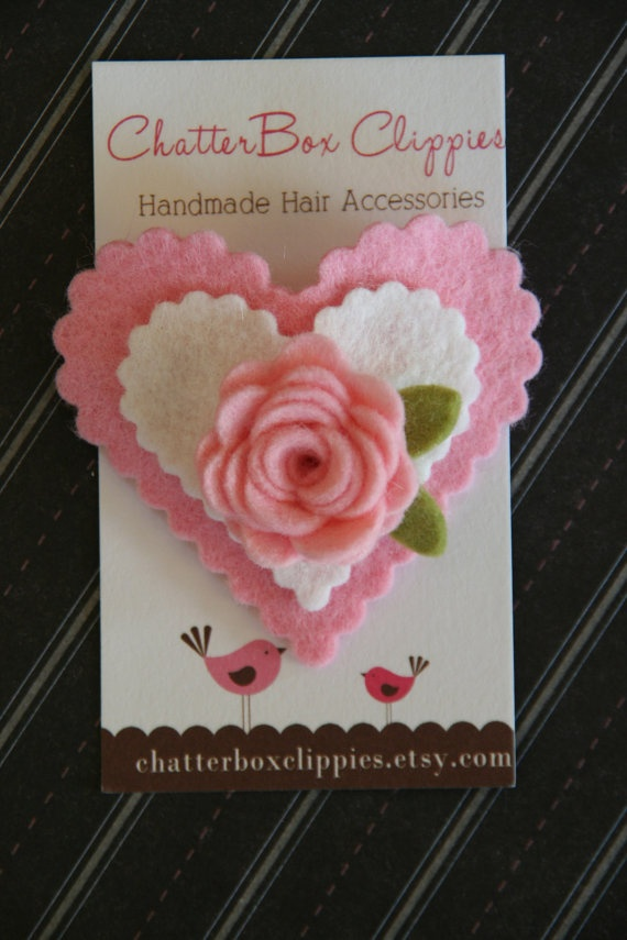 Valentines Hair Clip Wool Felt Heart Snap by ChatterboxClippies, $5.99