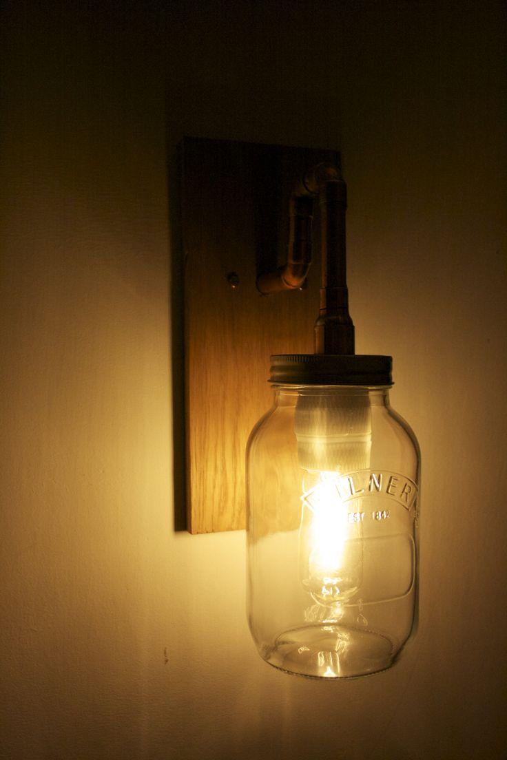 Jamjar Lights Wall Light. Solid Oak, Copper Pipe and a 1 Litre Kilner Jam Jar. To order find us ...