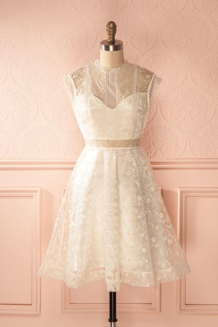 Robe trapèze dentelle crème col montant découpes - Ivory lace retro bold bridal…