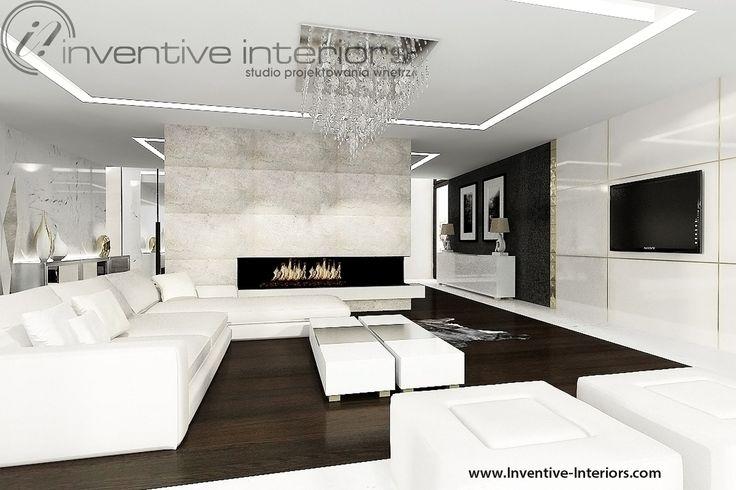 Projekt salonu Inventive Interiors - delikatne akcenty złota w jasnym salonie