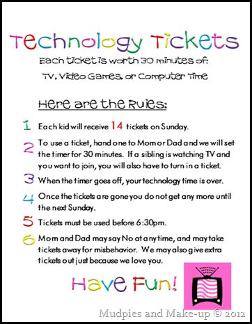 Mudpies and Make-up: Technology Tickets {and Free Printables}